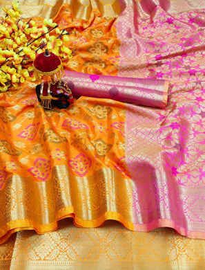 Orange Heavy Banarasi Silk Woven Patotal Work With Solid Saree Collection