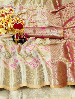 Cream Heavy Banarasi Silk Woven Patotal Work With Solid Saree Collection