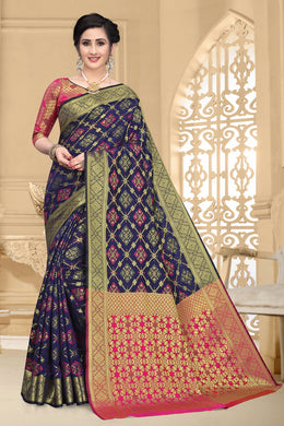 Navy Blue Heavy Banarasi Silk Woven Patotal Work With Solid Saree Collection