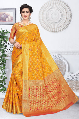 Yellow Heavy Banarasi Silk Woven Patotal Work With Solid Saree Collection