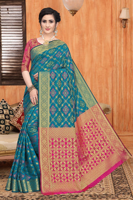 Sky Blue Heavy Banarasi Silk Woven Patotal Work With Solid Saree Collection