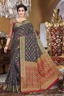 Grey Heavy Banarasi Silk Woven Patotal Work With Solid Saree Collection