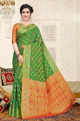 Parrot Heavy Banarasi Silk Woven Patotal Work With Solid Saree Collection