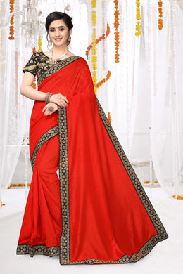 Red Vichitra Silk Embroidered Work With Saree Collection