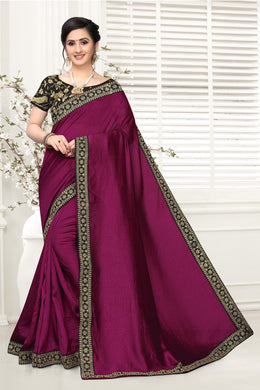 Substantial Purple Vichitra Silk Embroidered Work With Saree