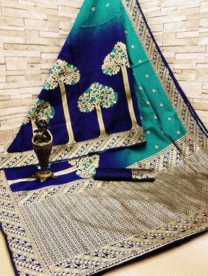 Luxuriant Blue Soft Art Silk Pedding Minakari With Saree Collection