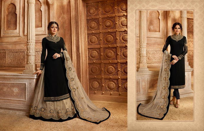 Cocktail Black Georgette Embroidery Work With Long Anarkali & Straight Mixx Transparent Suit