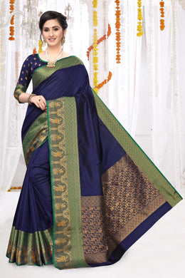 Navy Blue Heavy Banarasi Silk Hand Woven Patola With Solid Saree Collection