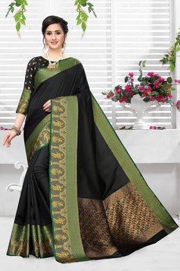 Black Heavy Banarasi Silk Hand Woven Patola With Solid Saree Collection