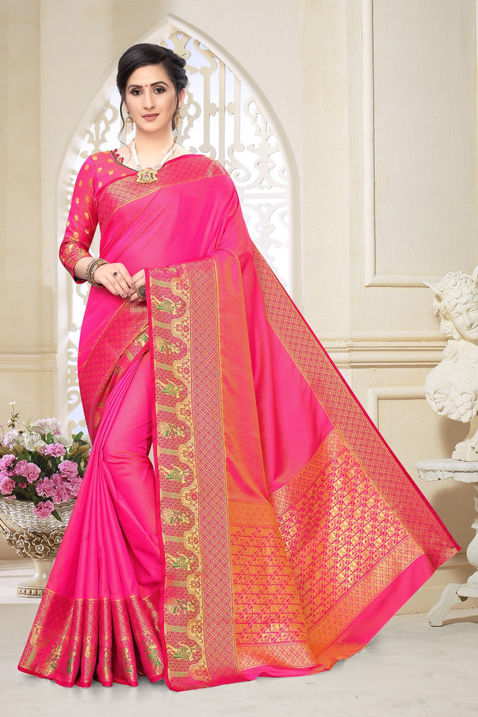 Pink Heavy Banarasi Silk Hand Woven Patola With Solid Saree Collection