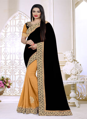 Black Georgette Embroidered Work With Saree Collection