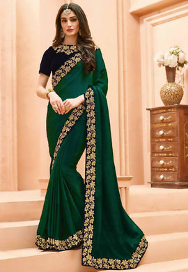 Snobbish Sea Green Sana Silk Embroidery Work With Edged Saree