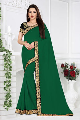 Awesome Designer Green Vichitra Silk Embroidered Work With Stylist Saree