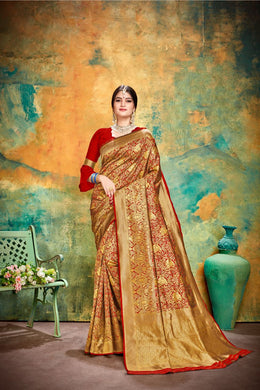Exclusive Hottest Red Banarasi Silk Traditional Print Work Smooth Saree