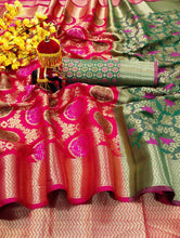Desire Grey & Pink Heavy Banarasi Silk Hand Woven Patola With Solid Saree Collection