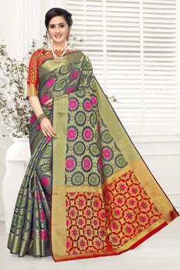 Grey & Red Heavy Banarasi Silk Hand Woven Patola With Saree Collection