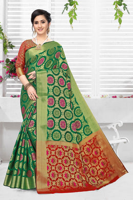 Green & Red Heavy Banarasi Silk Hand Woven Patola With Saree Collection