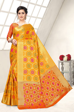 Yellow Heavy Banarasi Silk Hand Woven Patola With Saree Collection
