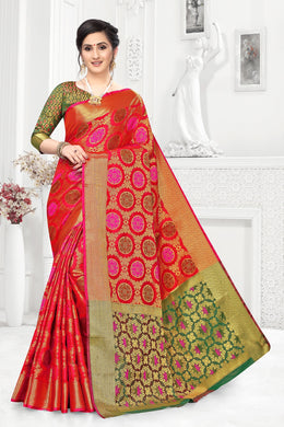 Red Heavy Banarasi Silk Hand Woven Patola With Solid Saree Collection