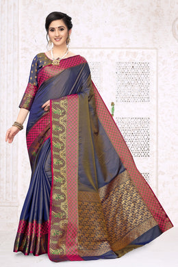 Blue Heavy Banarasi Silk Hand Woven Patola With Solid Saree Collection