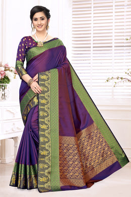 Purple Heavy Banarasi Silk Hand Woven Patola With Solid Saree Collection