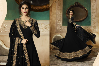 Stimulating Black Heavy Georgette Sequince Work With Long Anarkali Suit
