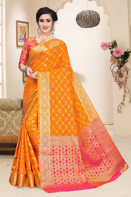 Celebration Look Orange Heavy Banarasi Silk Woven Patotal Work With Solid Saree Collection