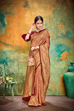 Maroon Jacquard Silk Traditional Print Work Smooth Saree