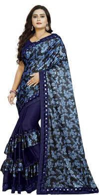 Blue & Black Silk Blend Printed Ruffled Saree With Mirror Work