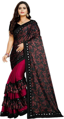 Floral Print Bollywood Lycra Blend Saree (maroon And Black)