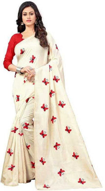 New Butterfly Designer And Stylish Chiffon Silk Saree (white Colour)