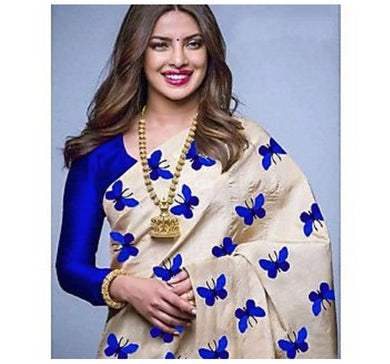 New Embroidered Fashion Chiffon Silk Saree (blue Colour)