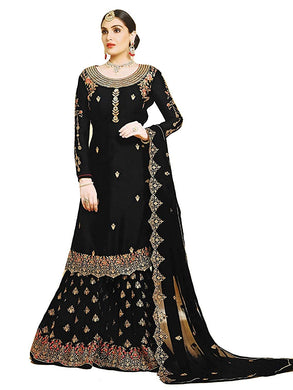 Bollywood Black Color Heavy Faux Georgette Embroidered Plazzo Suit