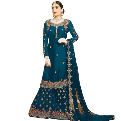 Wedding Firozi Color Heavy Faux Georgette Embroidered Plazzo Suit