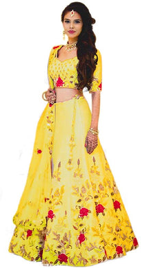 Attarctive Yellow Satin Banglory Silk Embroidered Lehenga Choli