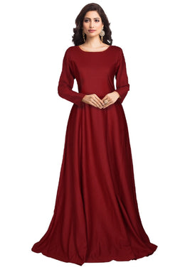 Maroon Color Attactive New Imported Readymade Full Stitched Stretchable Gown