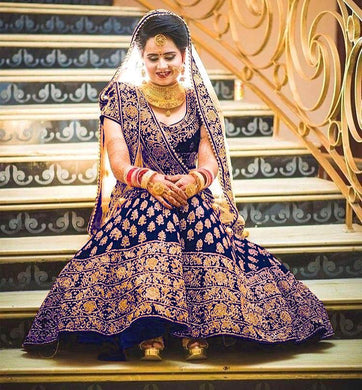 Attractive Wedding Navyblue Color Velvet Embroidered Lehenge Choli
