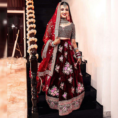 Red Color Viscos Velvet Embroidered Lehenga Choli With Dupatta