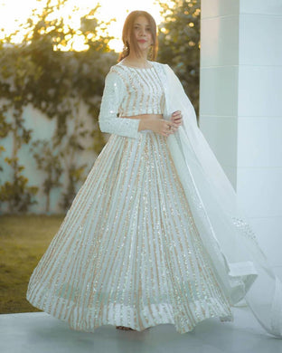 Bollywood White Color Geogette Emboidered Anarkali Lehenga Choli