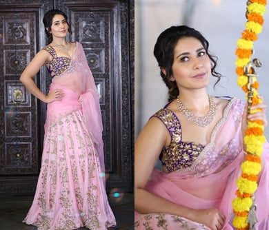 Pink Color Embroidery Heavy Net Lengha Choli With Duptta