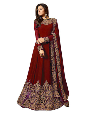 Heavy Wedding Bollywood Designer Maroon Color Embroidered Georgette Gown