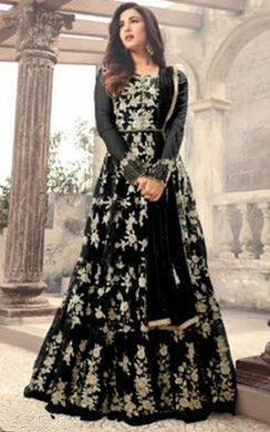 Awesome Black Color New Soft Net Embroidered Heavy Gown