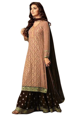 Salmon Bollywood Faux Georgette Embroidered Salwar Kameez Plazzo Suit