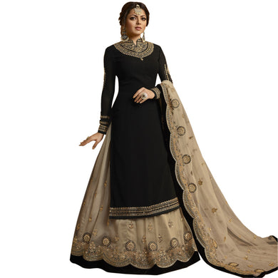 Indian Bollywood Heavy Black Faux Georgette Embroidered Plazzo Suit