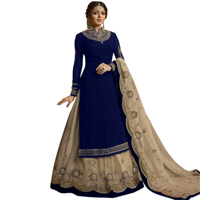 Wedding Bollywood Heavy Blue Faux Georgette Embroidered Plazzo Suit