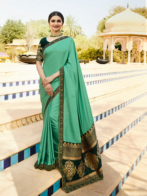 Green Color Pure Paper Silk Designer Best Quality Georgeous Embroidered Saree
