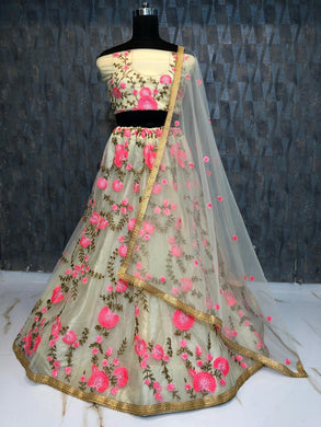 Chiku Color Heavy Net Circular Wedding Anarkali Embroidered Lehenga Choli
