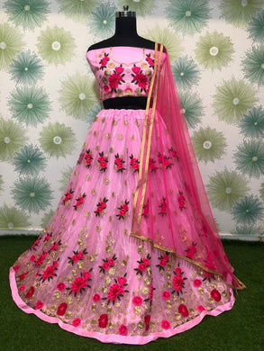 Babypink Color Heavy Net Embroidered Semi Stitched Lehenga Choli