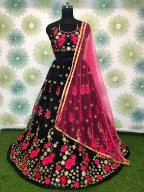Black Color Heavy Net Embroidered Semi Stitched Anarkali Lehenga Choli