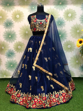 Blue Color Heavy Net Embroidered Circular Anarkali Semi Stitched Lehenga Choli